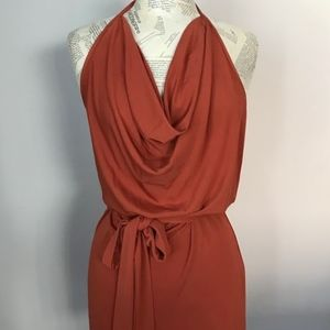 HAUTE HIPPIE Burnt Orange Cowl Neck Halter Dress L